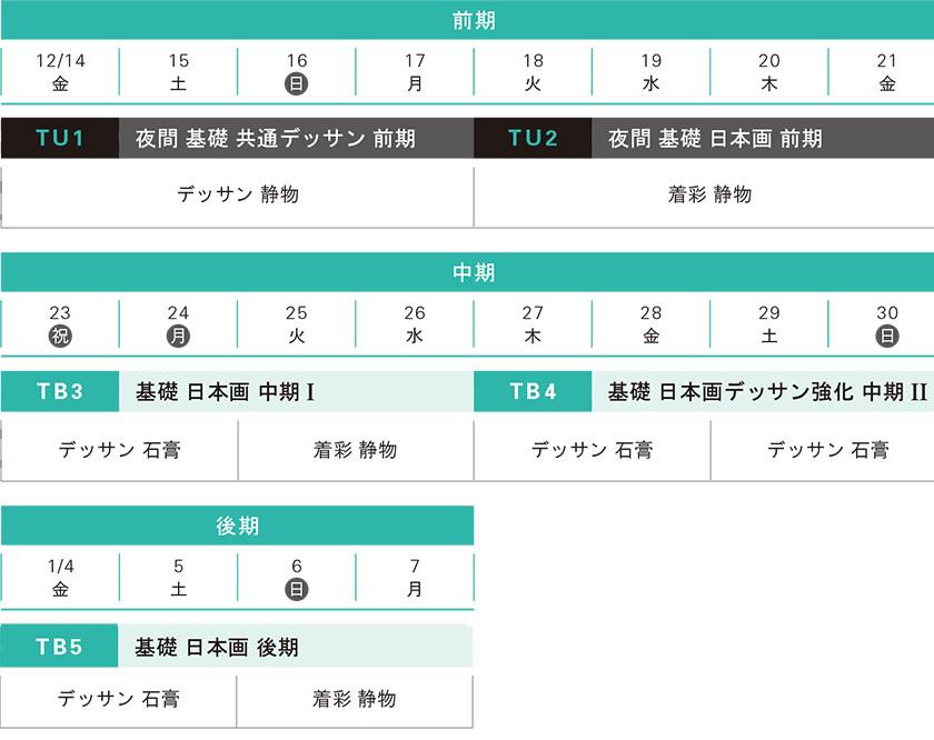 冬季講習日本画科基礎科スケジュール