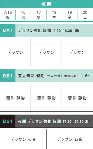 夏季講習日本画科短期コーススケジュール