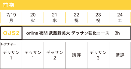 映像科 online夏季講習2021 スケジュール